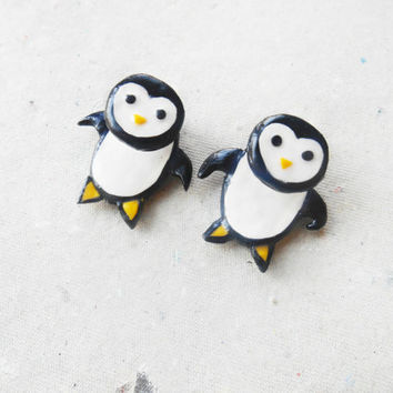 Cute penguins stud earrings, Polymer clay earrings, Fake Plug, Fake Ear piercing jewelry,Youth, Youth Earrings, Polymer Clay Jewelry