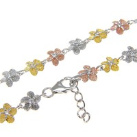 STERLING SILVER 925 TRICOLOR 6MM HAWAIIAN PLUMERIA FLOWER ANKLET 9 1/2""