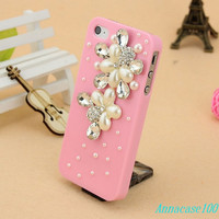 Pink bling iphone5 case rose iphone case, i phone 4 4s 5 case, iphone4 iphone4s iphone5 case,cute crystal case.personality, unique design