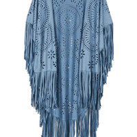 Cornflower Blue Suedette Laser Cut Asymmetric Fringed Cape