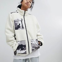 Dickies Fleece Jacket With Camo Patch Pockets at asos.com