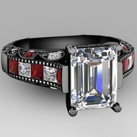 White Emerald Cut CZ Wedding/Engagement Set With Red and Clear Stones - Black Gold Plate (BLF-1760)