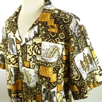 KAI VEIKAU BARKCLOTH Tiki Hawaiian Tribal Shirt Big Men XXL Vintage 90s Cotton