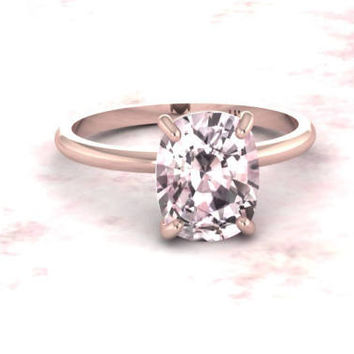 Morganite Engagement Ring Plain Band Cushion Morganite 9x7 Long Cushion Solitaire Wedding Ring 14K Rose Gold