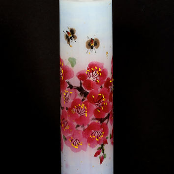 Nanya Candle - Hand-painted Art Pillar Candle  - Plum flower field with bees