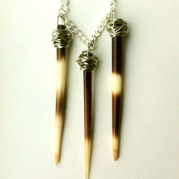 Triple Hanging Porcupine Quill Necklace