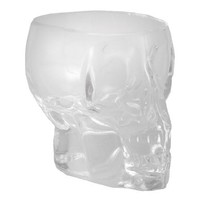 Set Of 6 Heavy Glass Human Skull Shot Glasses