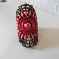 Vintage Ring Brass Red Stone Long Wide Copper Filigree Band Knuckel