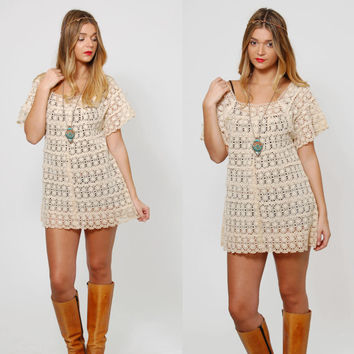 Vintage 60s Cream LACE Top CROCHET Hippie Top EYELET Top Crochet Tunic Boho Open Knit Top