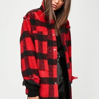 Missguided - Red Oversized Checkered Trucker Jacket
