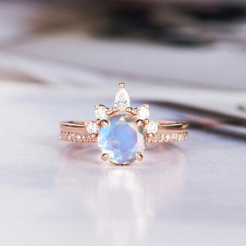 Moonstone Engagement Ring Sets Bridal Sets Curved Chevron Wedding Rose Gold Bridal Ring Diamond Stacking Half Eternity Promise Ring Rainbow
