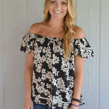 Romance in Floral Print Off Shoulder Top