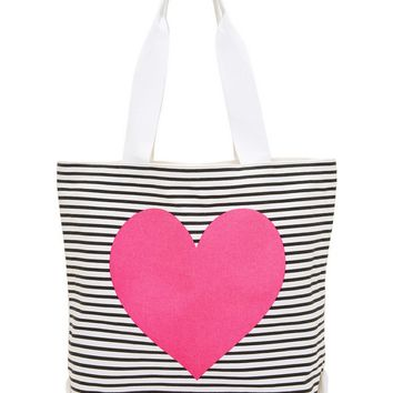 Neon Heart Canvas Tote Bag
