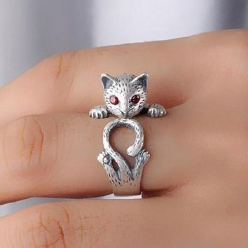 Day-First™ Cool S925 Sterling Silver Lovely Kitten Tail Ring
