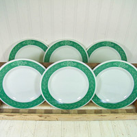 Vintage Pyrex Brand TableWare by Corning Set of 6 Plates - Retro Green Fern Laurel Leaf Daisy Pattern Green & White Collection of Half Dozen