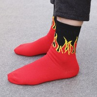 Red Flame Pattern Crew Socks