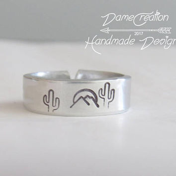 Mountain Ring Silver, Mountain Ring Men, Mountain Ring Sterling, Desert Themed Gift, Cactus Ring Silver Jewelry, Succulent Jewelry Handmade