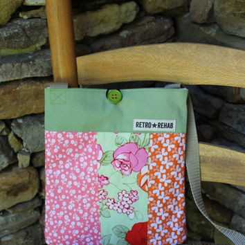 Ecofriendly SUNNY Patchwork Hipster Pink Green by RetroRehabShop