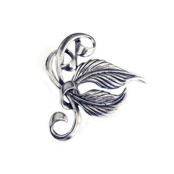 Sterling Leaf Brooch, Sterling Silver, Stylized Leaf, Autumn Leaves, Antique Brooch, Vintage Brooch, Vintage Jewelry