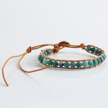 New Boho Style Mixed Leather Natural Green Onyx Bead Bracelet for Women and Men Handmade Friendship Bracelets Gift Jewelry