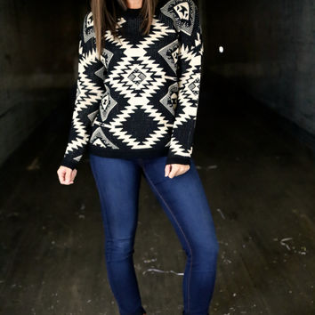 Black & Cream Tribal Sweater