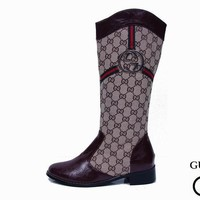 GUCCI Fashion Leather High Boot Flats Shoes-2