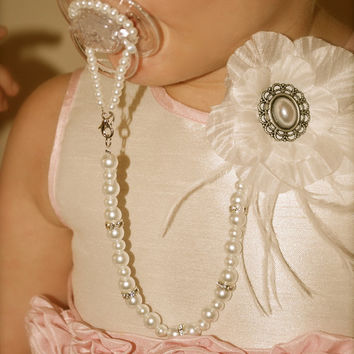 Gorgeous Baby Boutique 4-in-1 Beaded Pacifier Holder - Made with Swarovski Crystals Spacers
