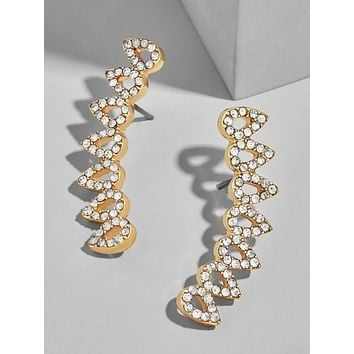 Unique In Style Trendy Earrings 14K Gold Plated Swarovski Elements Curved Crawler Earrings