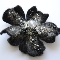 Black and White Felt Flower Pin, Embroidered Beaded Flower Brooch, Handmade Whimsical Corsage Accessory, Unique Art