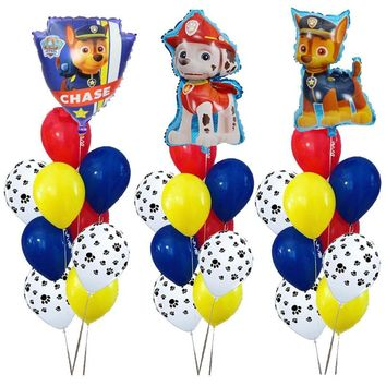 PAW PATROL 10pcs Pink Sky Chase black rose gold Heart Foil balloons Number Birthday Party decor Helium Globos Toys baby shower