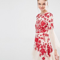 Frock and Frill Embroidered Beaded Skater Dress With Fluted Sleeve