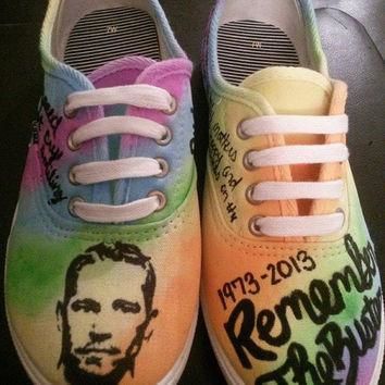 Paul Walker Tribute Hand Painted Custom Made Shoes Fast and Furious RIP Converse Vans