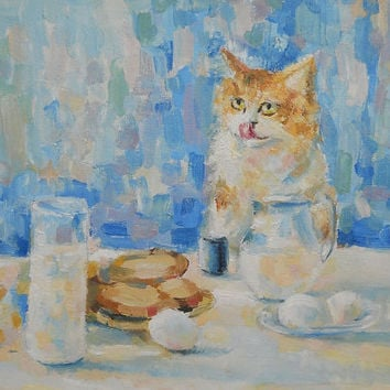 "Cat painting ""Curious cat and Breakfast"" Oil Painting, Impasto, Wall Decor, Made to Order, Still Life, Red Cat, Original Art work,Ginger Cat"