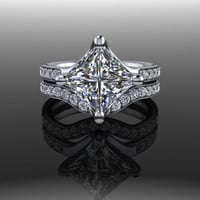 Forever Brilliant Moissanite and Diamond Princess Engagement Ring and Band 2.98 CTW