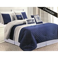 Linen Mart Cowboy Navy Blue Dallas Star Comforter - 6 Piece Set