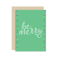 Be Merry - Holiday Christmas Card - String Lights Green Script - Modern Cute Fun 5x7