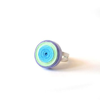 Pastel Quilling Paper Adjustable Ring, Pastel Quilled Paperwork, Quilling Ring