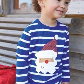 Buy Blue Stripe Santa Long Sleeve Top (3mths-6yrs) online today at Next: United States of America