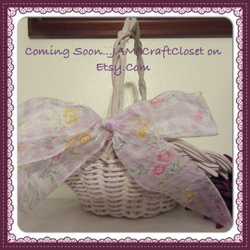 Lavendar Vintage Wicker Flower Girl Basket With Lavender Gingham Floral Bow-Basket Collector-Home Decor-Wedding-Centerpiece-Gift-Storage-