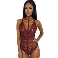 Sexy Black Lace Bodysuit Slim Deep V Neck Halter Sleeveless Women Overalls Playsuit Night Club Rompers Women Red Jumpsuit