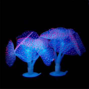 SunKni 2Pcs Glowing Effect Silicone Artificial Coral Plant for Aquarium Decorations Fish Tank Dcor Fish Bowl Ornament Pink Simple Packing