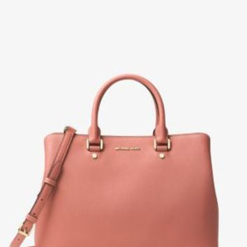 Savannah Large Saffiano Leather Satchel | Michael Kors