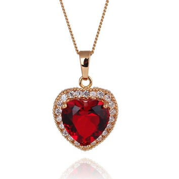 Kuniu Red Heart Crystal Elegant Women Clavicle Necklace Chain Gift