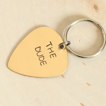 Personalized Bronze Guitar Pick Keychain Custom Stamped and Engraved