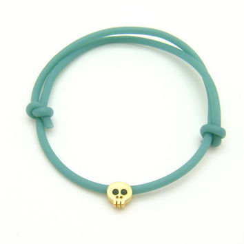 Tiny Skull Bracelet - Pastel Jade Rubber Bracelet With Tiny Matt Yellow 14k Gold Plated Skull Pastel - READY TO SHIP
