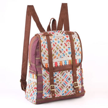 Silk Woven Southwestern Tribal print Multicolor Backpack, Daypack, Everyday Bag