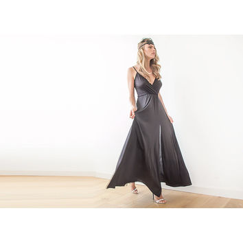 Black thin strap maxi wrap dress with slit 1060