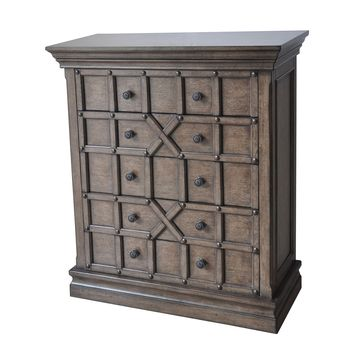 Sedgwick Overlaid Geometric 5 Drawer Tall Chest in Antique Natural Walnut Finish by Crestview Collection CVFZR1646