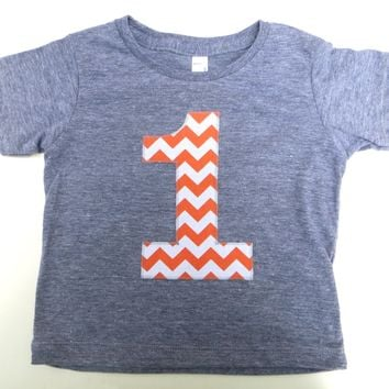 Orange chevron 1 Birthday Shirt- Boys 1st Triblend Grey TShirt Girls First Orange Fall kids Farm Pumpkin Patch autumn tractor leaves 2 3 4 5