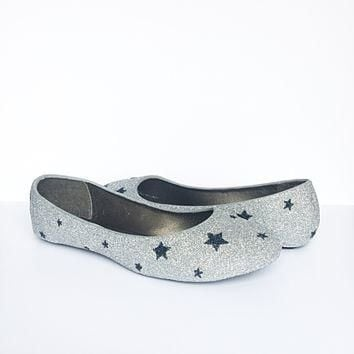 Silver Glitter Flats, Navy Star Ballet Shoes